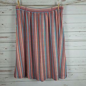 ModCloth Plus Coral Turquoise Stripe Full Skirt 2X